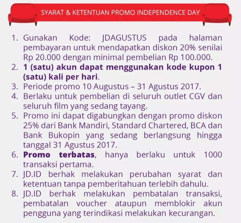 Promo Jd Id Tiket Nonton Bioskop Cgv Cinemas Diskon 45 Murah Gyvv